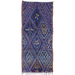 Vintage Blue Beni Mguild Moroccan Rug with Mid-Century Modern Tribal Style