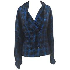 Vintage blue black lurex shirt
