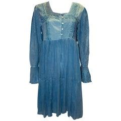 Vintage Blue Boho Top / Mini Dress