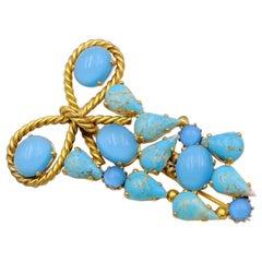 Vintage Blue Bow Brooch 1950s