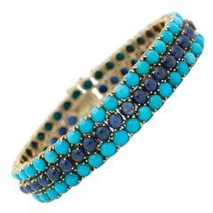Vintage Blue Cabochon Sapphire and Turquoise Bracelet, circa 1960s