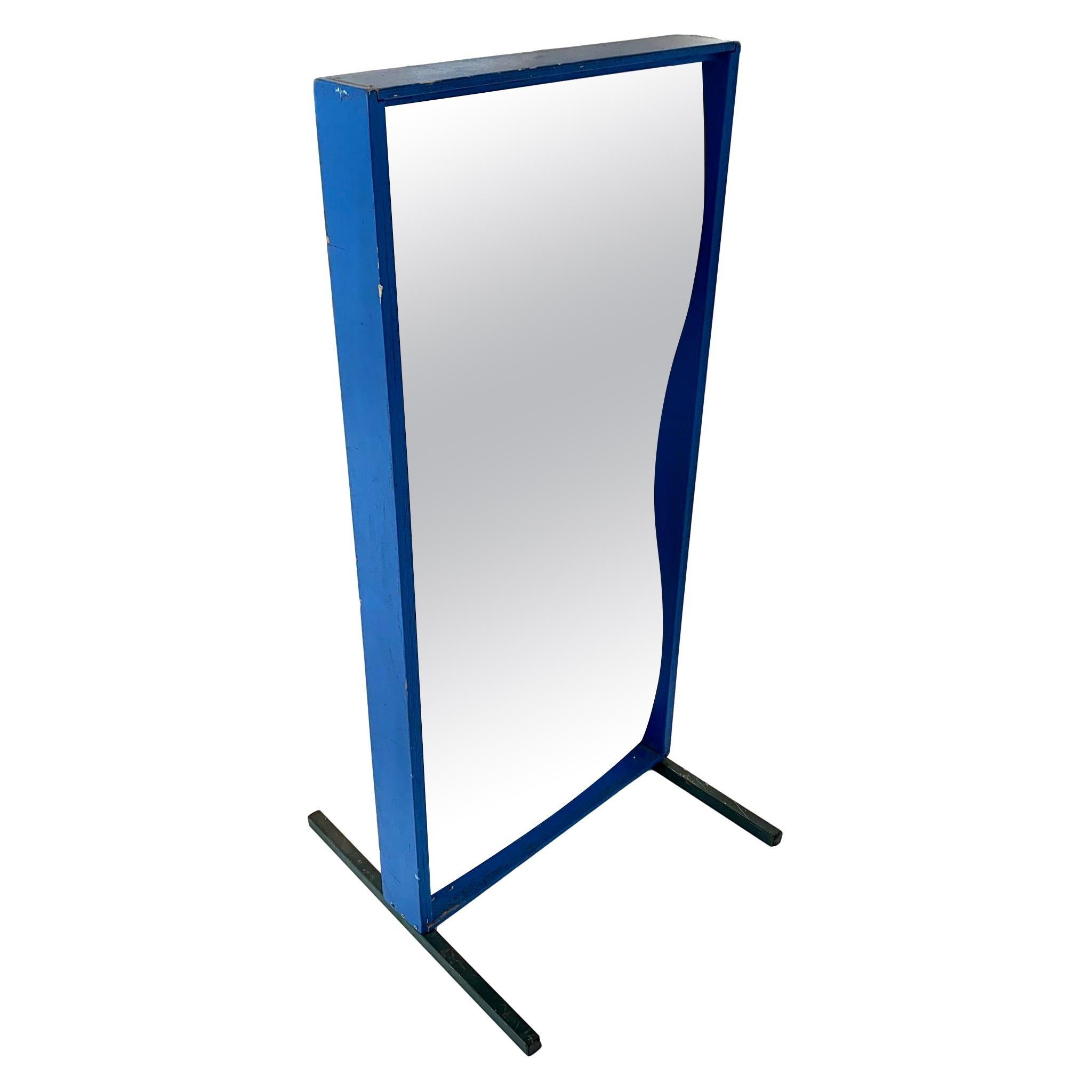 Vintage Blue Carnival Fun-House Mirror