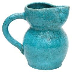 Vintage Blue Ceramic Milk Pitcher, France, 1960s