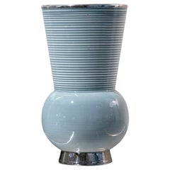 Vintage Blue Ceramic Vase by Richard Ginori, Italy, Mid-20th Century