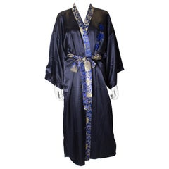 Vintage Blue Chinese Silk Dressing Gown