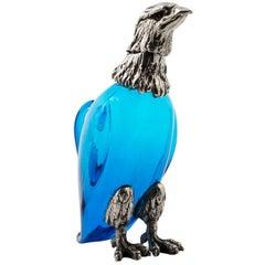 Vintage Blue Crystal Eagle Decanter