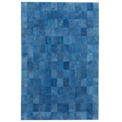 Vintage Blue Customizable Las Palmas Denim Cowhide Area Floor Rug Large