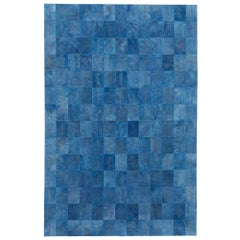 Vintage Blue Customizable Las Palmas Denim Cowhide Area Floor Rug Extra Large