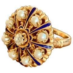 Vintage Blue Enamel and Euro Cut Diamond 14 Karat Yellow Gold Ring