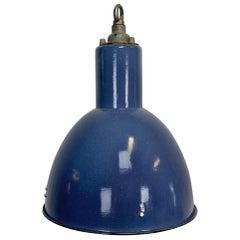 Vintage Blue Enamel Industrial Bauhaus Lamp, 1930s