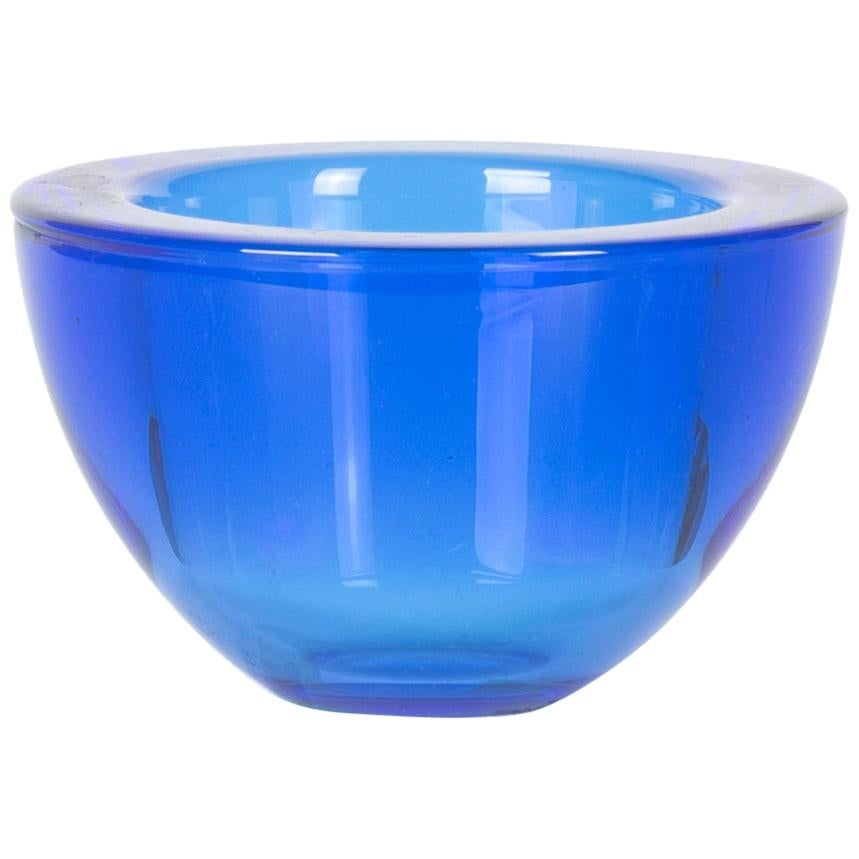 Vintage Blue Glass Bowl, Italy, 1970s