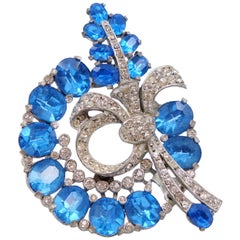 Vintage Blue Glass Brooch 1930s