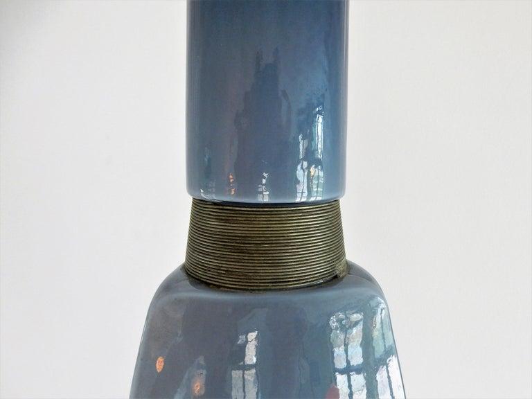 Mid-Century Modern Vintage Blue Glass Kastrup-Holmegaard Pendant Lamp, Denmark For Sale