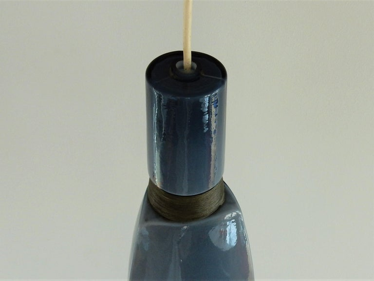 European Vintage Blue Glass Kastrup-Holmegaard Pendant Lamp, Denmark For Sale