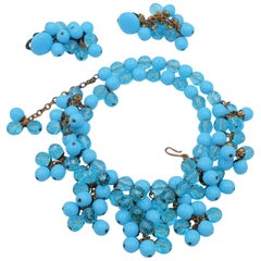 Vintage Blue Glass West Germany Set Necklace and Earrings 1950's