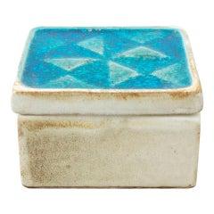 Vintage Blue Glazed Ceramic Box Handsigned by Cases, circa 1960