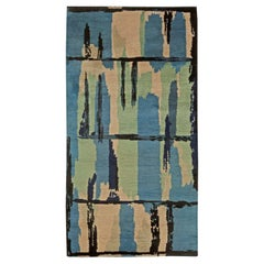 Vintage Blue, Green and Beige French Handwoven Wool Rug