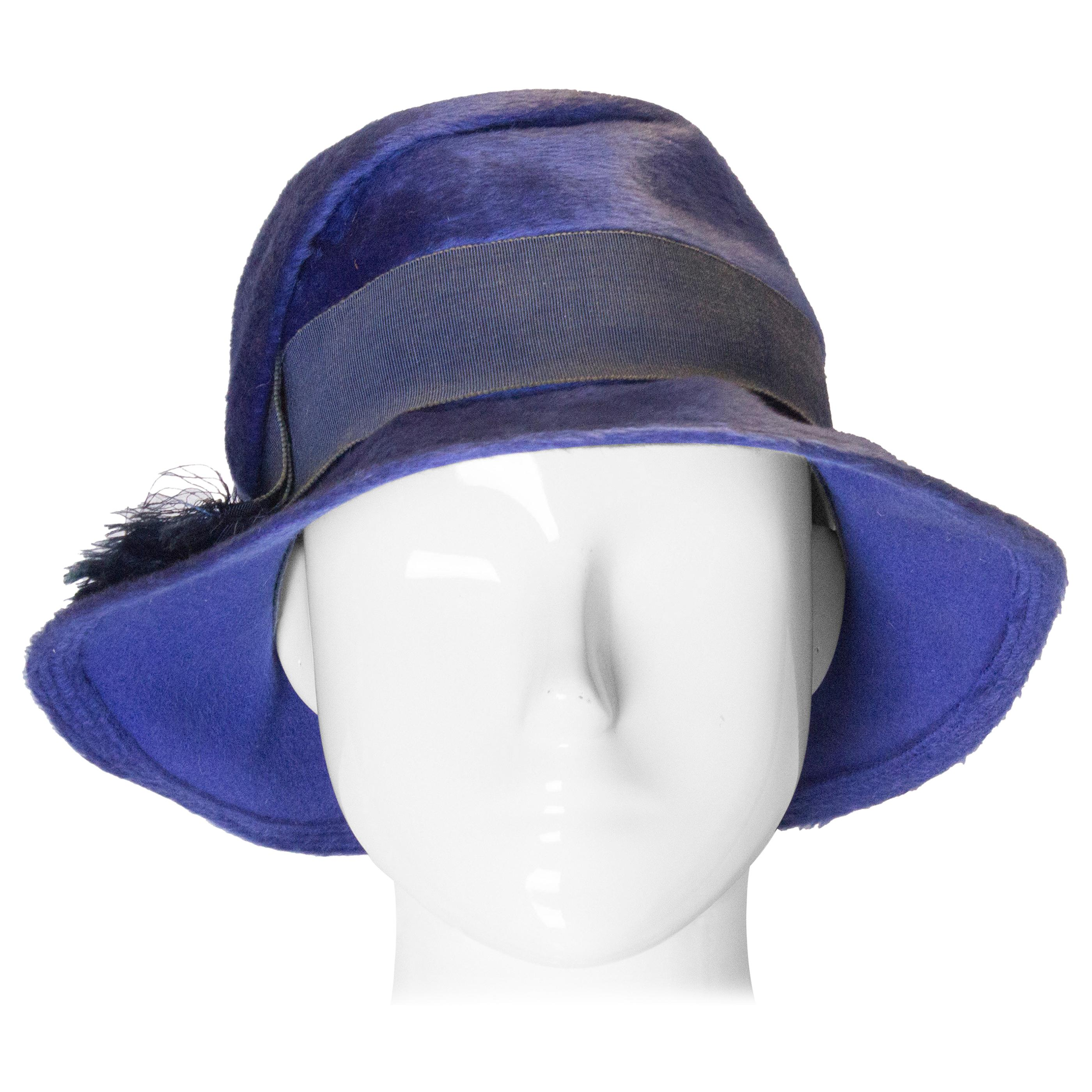 Vintage Blue Hat with Grossgrain Ribbon