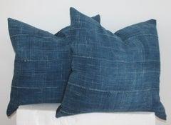 Vintage Blue Homespun Linen Pillows, Pair