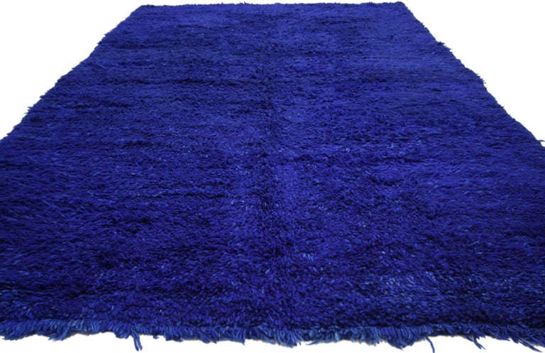 Hand-Knotted Vintage Blue Indigo Beni M'Guild Moroccan Rug, Berber Blue Moroccan Rug For Sale