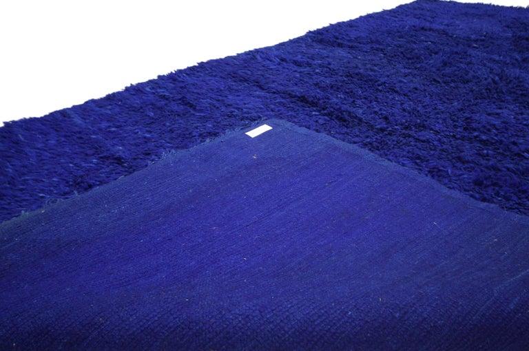 Vintage Blue Indigo Beni M'Guild Moroccan Rug, Berber Blue Moroccan Rug In Good Condition For Sale In Dallas, TX