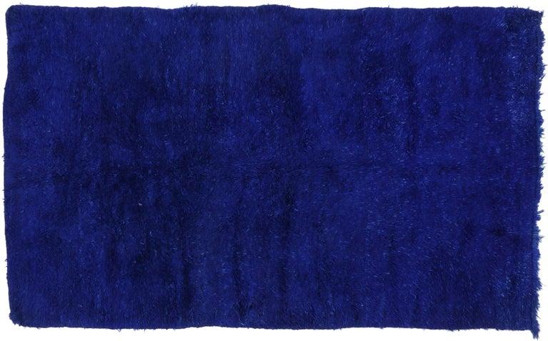 20th Century Vintage Blue Indigo Beni M'Guild Moroccan Rug, Berber Blue Moroccan Rug For Sale