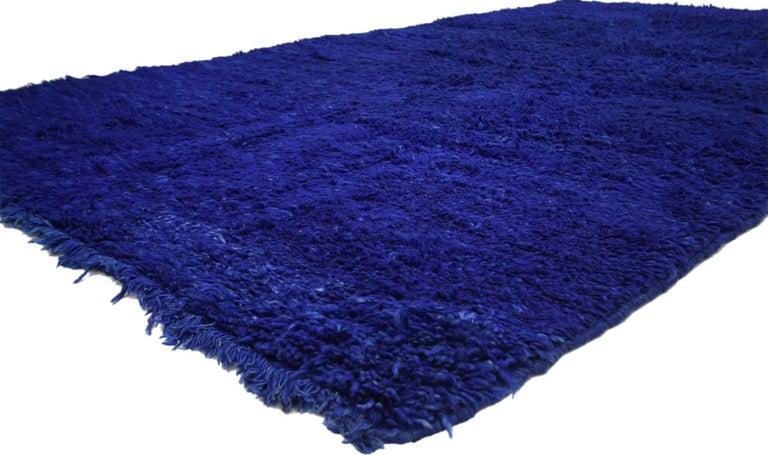 Wool Vintage Blue Indigo Beni M'Guild Moroccan Rug, Berber Blue Moroccan Rug For Sale
