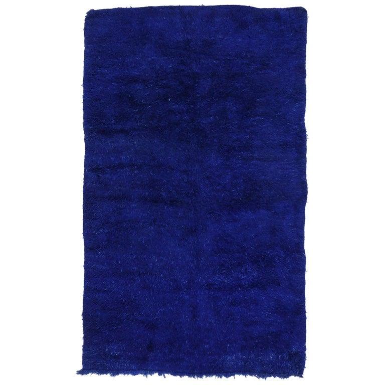Vintage Blue Indigo Beni M'Guild Moroccan Rug, Berber Blue Moroccan Rug For Sale
