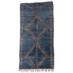 Vintage Blue Indigo Beni M'Guild Moroccan Rug with Tribal Style, Berber Moroccan