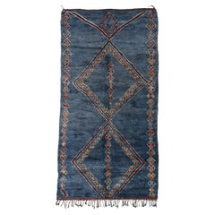 Vintage Blue Indigo Beni M'Guild Moroccan Rug with Tribal Style