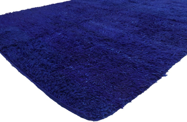 21011, vintage blue indigo Beni Mrirt Moroccan rug, Berber Blue Moroccan rug. This hand knotted wool vintage Beni Mrirt Moroccan rug emanates function and versatility with it's shaggy pile and modern vibes while staying true to the authentic spirit
