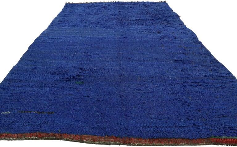 Tribal Vintage Blue Indigo Beni Mrirt Moroccan Rug, Berber Blue Moroccan Rug For Sale