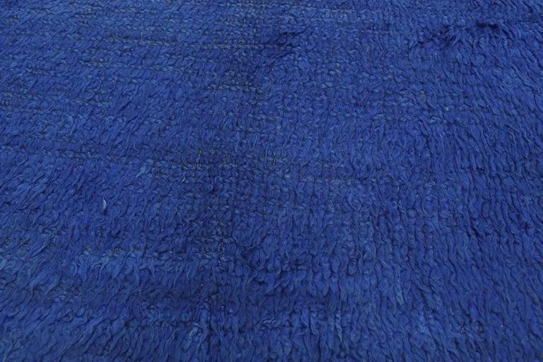 Hand-Knotted Vintage Blue Indigo Beni Mrirt Moroccan Rug, Berber Blue Moroccan Rug For Sale