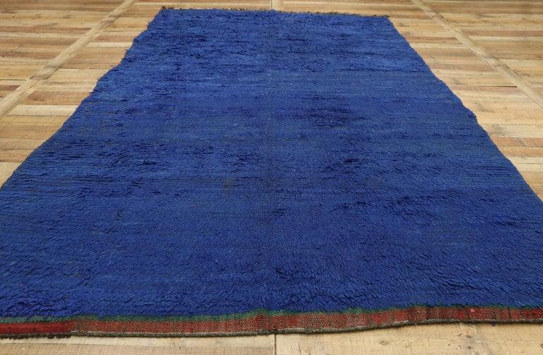 20th Century Vintage Blue Indigo Beni Mrirt Moroccan Rug, Berber Blue Moroccan Rug For Sale