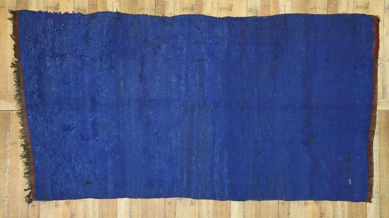 Wool Vintage Blue Indigo Beni Mrirt Moroccan Rug, Berber Blue Moroccan Rug For Sale
