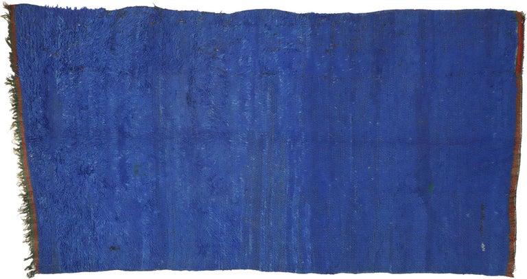 Vintage Blue Indigo Beni Mrirt Moroccan Rug, Berber Blue Moroccan Rug For Sale 1