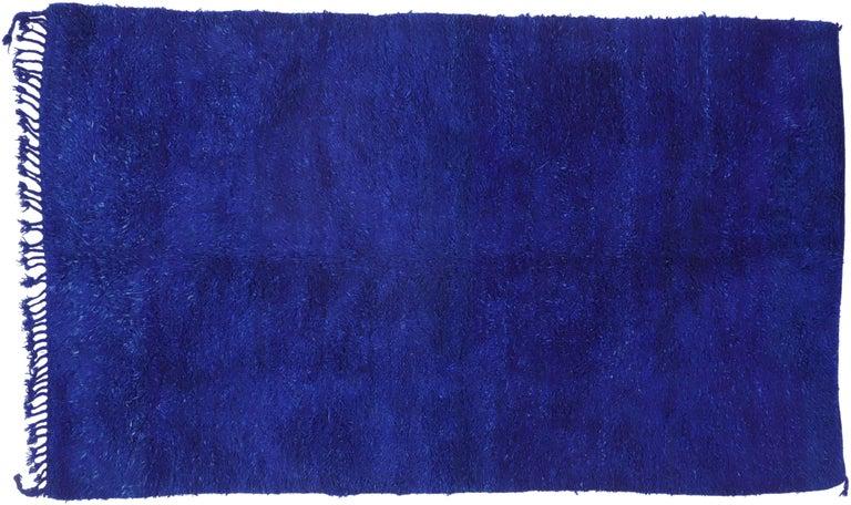 Vintage Blue Indigo Beni Mrirt Moroccan Rug, Berber Blue Moroccan Rug For Sale 2