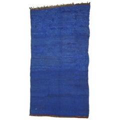 Vintage Blue Indigo Beni Mrirt Moroccan Rug, Berber Blue Moroccan Rug