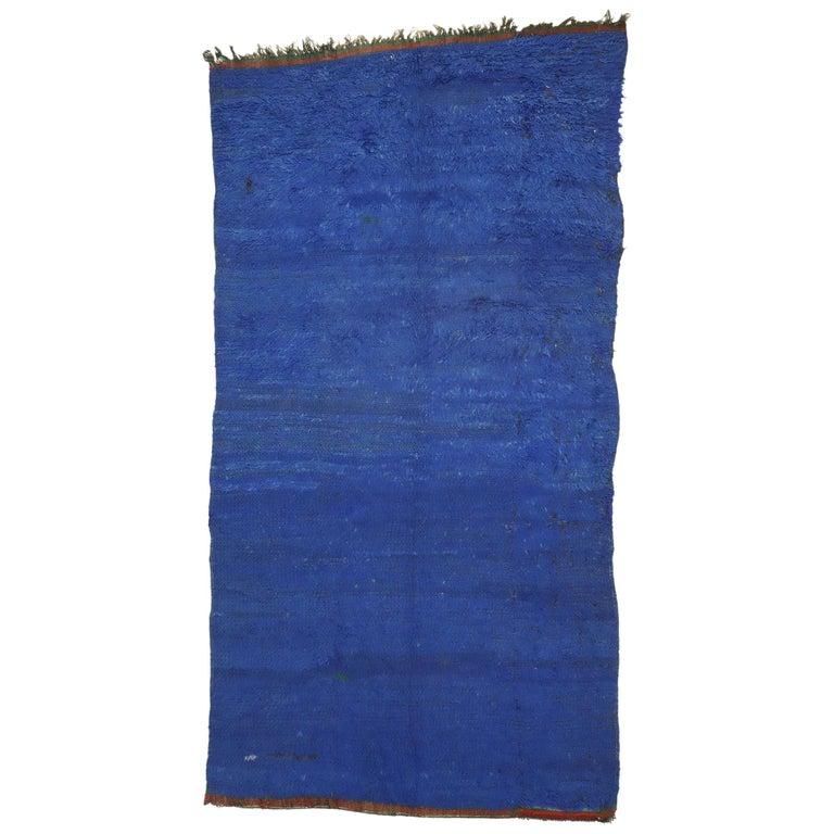 Vintage Blue Indigo Beni Mrirt Moroccan Rug, Berber Blue Moroccan Rug For Sale