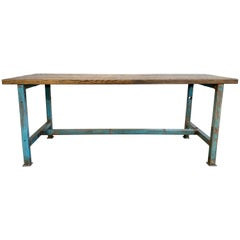 Vintage Blue Industrial Dining Table