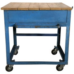 Vintage Blue Industrial Rolling Table, 1950s
