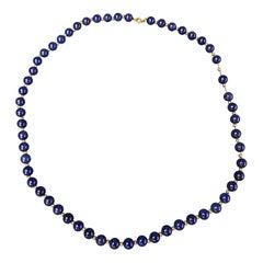 VINTAGE Blue Lapis Lazuli Beaded 14 K Gold Necklace