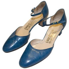 Vintage Blue Leather Ferragamo Shoes