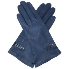 Vintage Blue Leather Gloves With Snakeskin Details