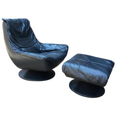 Vintage Blue Leather Swivel Lounge Chair and Ottoman Set, 1970s