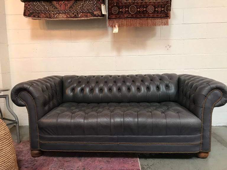Chesterfield Vintage Blue Leather Tufted Sofa For Sale