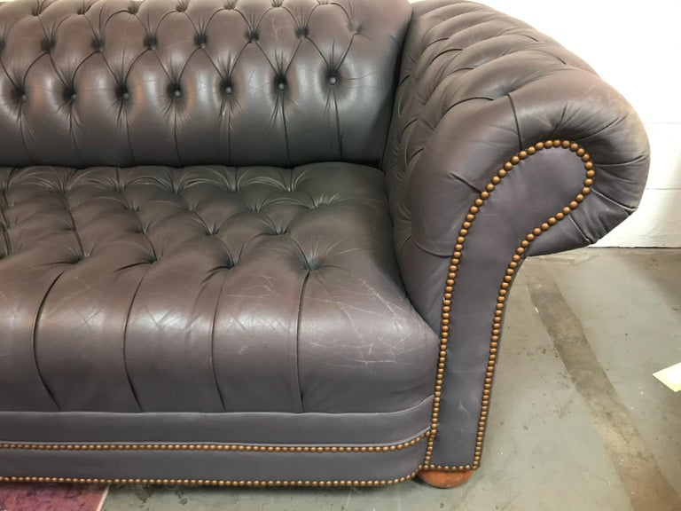 North American Vintage Blue Leather Tufted Sofa For Sale
