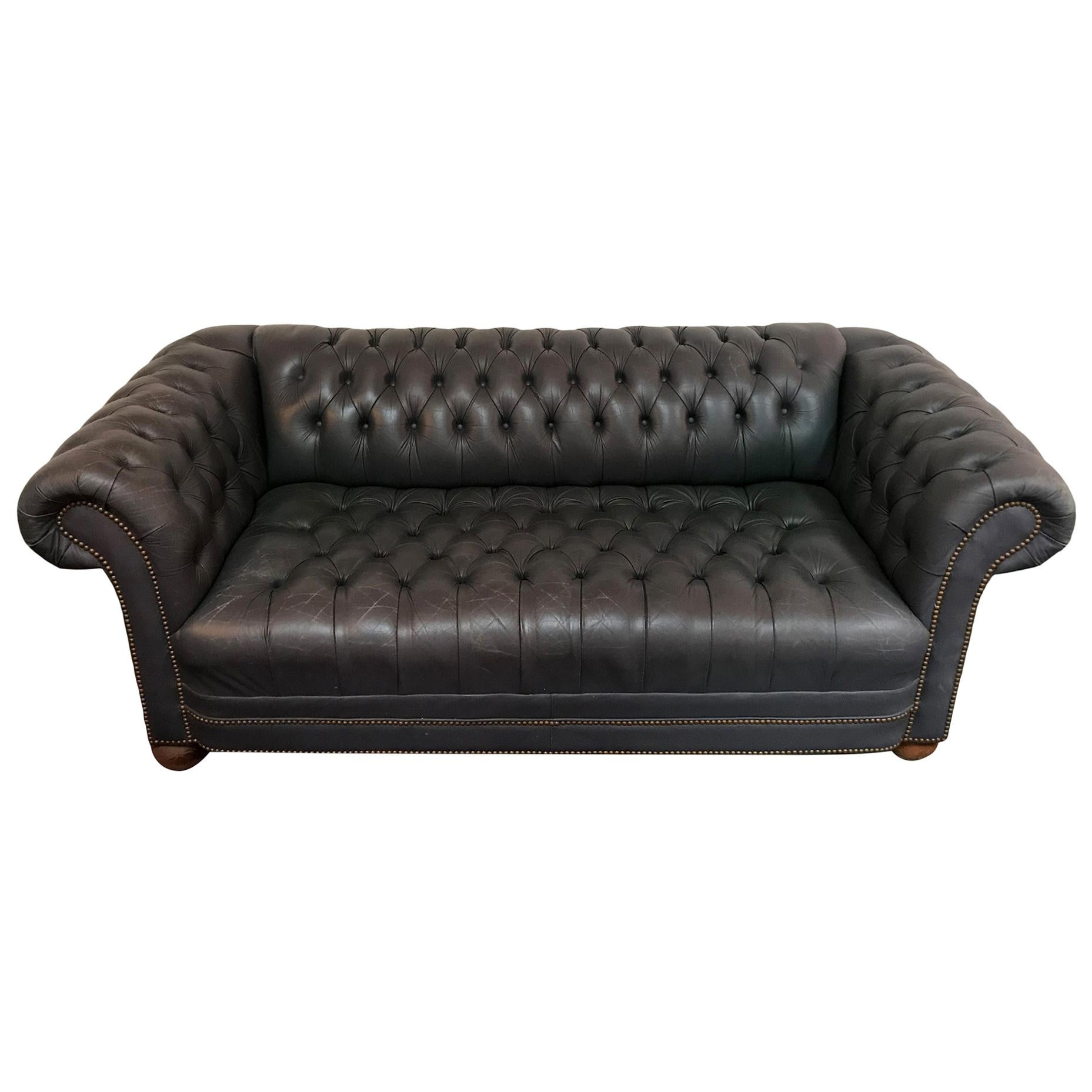 Vintage Blue Leather Tufted Sofa