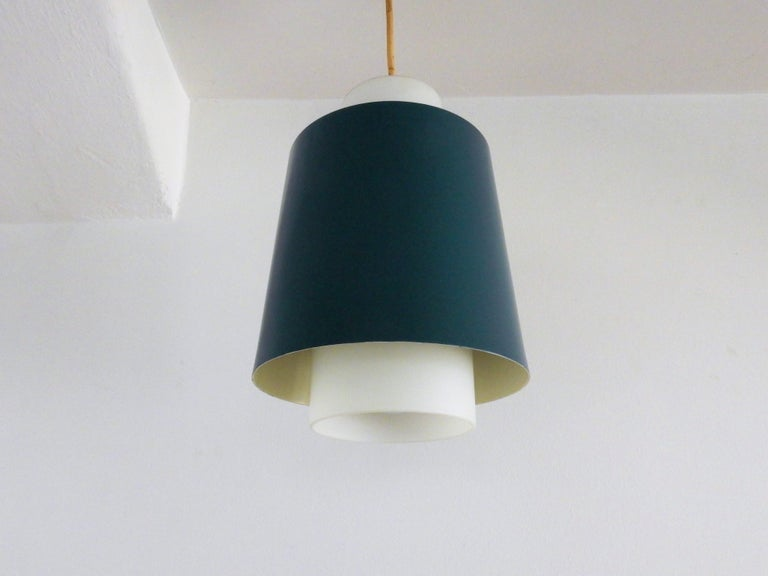 Mid-Century Modern Vintage Blue Metal and White Opaline Glass Pendant Lamp, 1960s For Sale