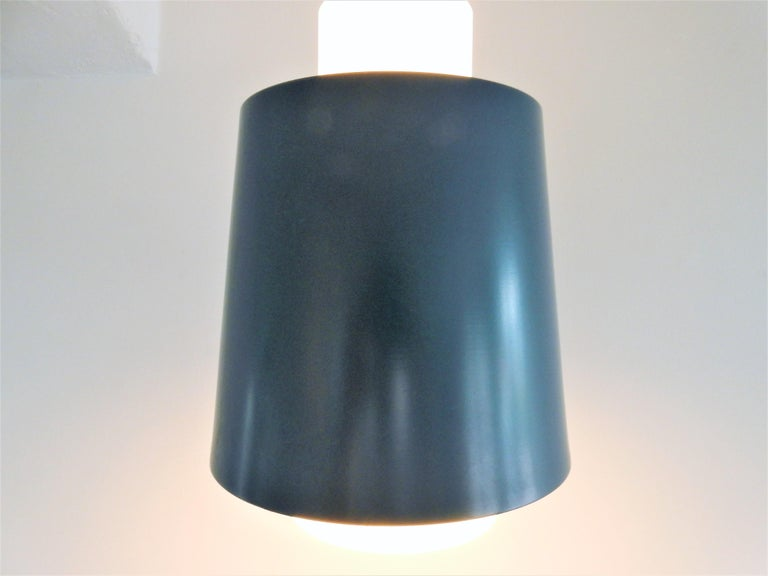 Vintage Blue Metal and White Opaline Glass Pendant Lamp, 1960s In Good Condition For Sale In Steenwijk, NL
